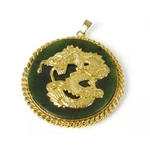 Vintage Chinese Dragon Natural Green Jade Pendant